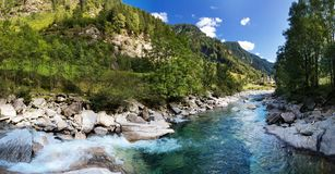 View of the village of Rossa in the Grisons. From the river Stock Image