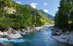 View of the village of Rossa in the Grisons. From the river Royalty Free Stock Image