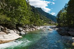 View of the village of Rossa in the Grisons. From the river Royalty Free Stock Photos