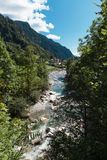 View of the village of Rossa in the Grisons. From the river Royalty Free Stock Photography