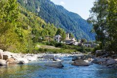 View of the village of Rossa in the Grisons. From the river Stock Images
