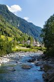 View of the village of Rossa in the Grisons. From the river Stock Photography