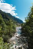View of the village of Rossa in the Grisons. From the river Royalty Free Stock Images
