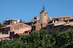 View of the village of Roussillon Stock Images