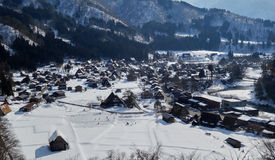 View of the village of Shirakawa-go. Shirakawa-go, located in the Japanese Alps, is a Unesco world heritage site Royalty Free Stock Photo