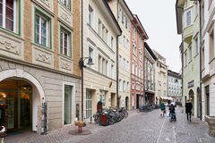VIew of Village street in Bolzano Stock Images