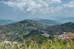 View. Village on the  top of the mountain Stock Photography