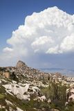 View on the village of Uchisar in Cappadocia, Turk Stock Photos