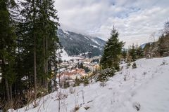 View on village during winter in the alps. View on Bad Gastein, a little village in the alps during winter Royalty Free Stock Photos