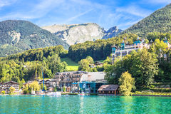 View of the village at Wolfgangsee Lake Royalty Free Stock Photo