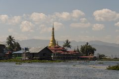 Stilt houses on Inle Lake. View of a village of wooden houses and stilt houses on the inle lake. Myanmar stock image