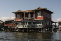 Stilt houses on Inle Lake. View of a village of wooden houses and stilt houses on the inle lake. Myanmar royalty free stock photography