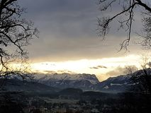View of villages and mountains. Panorama of valley with villages Stock Image