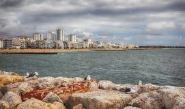 View of Villamoura ocean coast Royalty Free Stock Photos