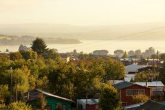 View of Villarica and lake. Of the same name in the background royalty free stock image