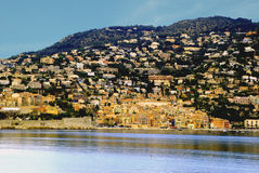 View on Villefranche Côte d'Azur from the sea. A small Mediterranean town Villefranche  is located in a mountain valley on the seashore Stock Images