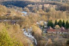 View of Vilnia river from Puckoriai exposure Stock Photos
