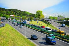 View of the Vilnius city transport on road Royalty Free Stock Photo