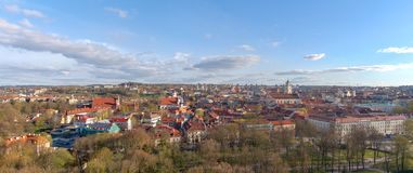 Beautiful view of Vilnius old town, Lithuania in spring. Panorama of two shots stock photo