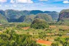 View of the Vinales valley, Pinar del Rio, Cuba. Copy space for text. View of the Vinales valley, Pinar del Rio, Cuba. Copy space for text royalty free stock photos