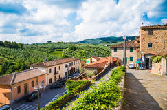 View of Vinci,Tuscany, Italy. VINCI, TUSCANY, ITALY - JUNE 5, 2016 View of Vinci - small village in Tuscany, famous for museum and home where Leonardo Da Vinci stock photography