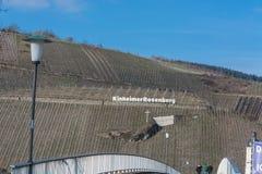 View of the vineyards of Kinheimer Rosenberg. KINNHEIMER ROSENBERG, GERMANY - MARCH 26, 2016: View of the vineyards of Kinheimer Rosenberg from a pleasure boat stock image