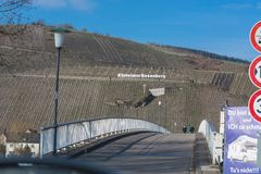 View of the vineyards of Kinheimer Rosenberg. KINNHEIMER ROSENBERG, GERMANY - MARCH 26, 2016: View of the vineyards of Kinheimer Rosenberg from a pleasure boat royalty free stock images