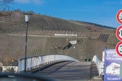 View of the vineyards of Kinheimer Rosenberg. KINNHEIMER ROSENBERG, GERMANY - MARCH 26, 2016: View of the vineyards of Kinheimer Rosenberg from a pleasure boat royalty free stock photo
