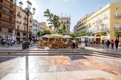 Valencia city in Spain. View in the Virgen square with cathedral in the centre of Valencia city during the sunny day in Spain Stock Image