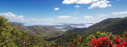 View Virgin Islands. Hilltop view of the Virgin Islands from St John Stock Images