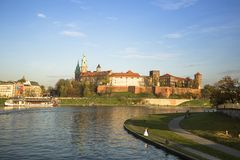 View of the Vistula River in the historic city center. Stock Images