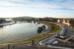 View of the Vistula River in the historic city center. Vistula is the longest and largest river in Poland Stock Photo