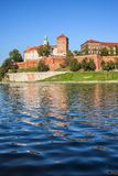 View From Vistula River to Wawel Castle in Krakow royalty free stock photos