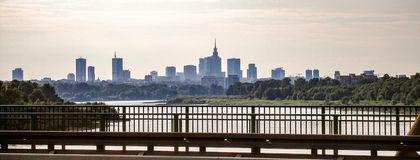 View on Warsaw downtown from Siekierkowski brigde. View on Vistula river and Warsaw city center from Siekierkowski bridge. Photo taken in 2009 Stock Photos