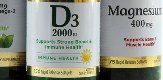 Vitamin D3 and Magnesium Stock Images