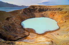 View of Viti crater, Askja, Iceland Stock Photo