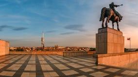 View from the Vitkov Memorial. The National Monument, Vitkov Hill, Equestrian bronze statue of Jan Zizka, Hussite leader, Zizkov, Czech Republic Stock Photo