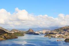 View of Vitoria, Vila Velha, bay, port, ships, Espirito Santo, B Royalty Free Stock Images