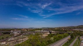 Blue sky and free roads. View from vitra Design Museum Weil am Rhein, April 2018 stock photos