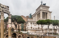 View of the Vittoriano monument from Forum of Caesar in Rome Stock Photo