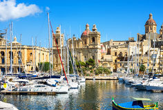 View of Vittoriosa Harbor with St. Lawrence's Church. Malta Royalty Free Stock Photo