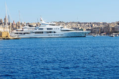 The view on Vittoriosa and motor yachts. Malta Stock Photos