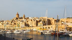 View from the Vittoriosa. And yachts, Malta Grand harbor Royalty Free Stock Photos