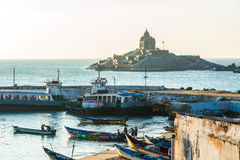 View on Vivekananda Rock Memorial and fishing boats Stock Photography