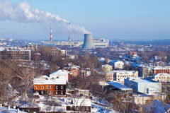 View of Vladimir. With thermal power plant in winter royalty free stock photo