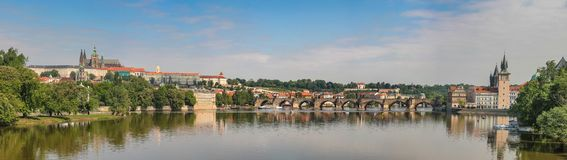 View of the Vltava Embankment, Charles Bridge and St. Vitus Cathedral in Prague, Czech Republic. Stitched Panorama stock photos