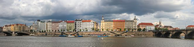 View of the Vltava Embankment and the dancing house in Prague, Czech Republic stock image
