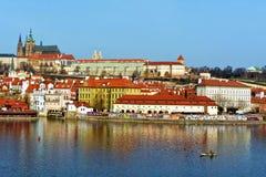 Vltava and Hradcany, Prague, Czech republic. View on Vltava and Hradcany district in Prague royalty free stock photos