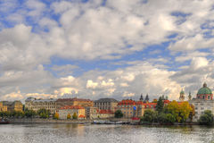 View of Vltava river. Old buildings and the  Vltava river, Prague Stock Photos