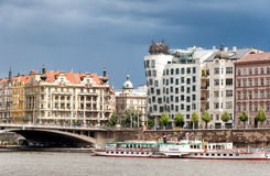 View on Vltava river,bridge and famous Dancing House building in Prague Stock Images